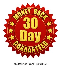 30 day money back guaranteed , red and gold warranty label isolated on white