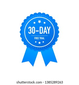30 days free trial label, badge, sticker. Software promotions for free downloads. It can be used for application.  stock illustration.