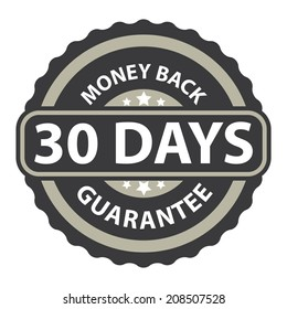 30 Days Money Back Guarantee on Gray Vintage, Retro Sticker, Badge, Icon, Stamp Isolated on White