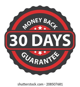 30 Days Money Back Guarantee on Red Vintage, Retro Sticker, Badge, Icon, Stamp Isolated on White