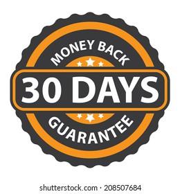 30 Days Money Back Guarantee on Orange Vintage, Retro Sticker, Badge, Icon, Stamp Isolated on White