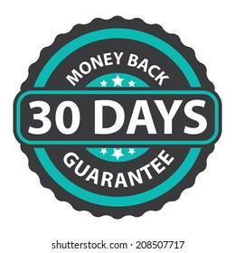 30 Days Money Back Guarantee on Blue Vintage, Retro Sticker, Badge, Icon, Stamp Isolated on White