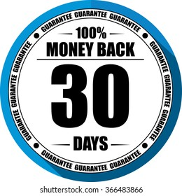 30 days Money back guarantee blue, Button, label and sign.