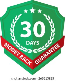 30 Days Money Back Guaranteed Label And Sticker With Green Badge Sign, Isolated on White Background.