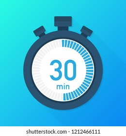 The 30 minutes, stopwatch  icon. Stopwatch icon in flat style, timer on on color background.   stock illustration.