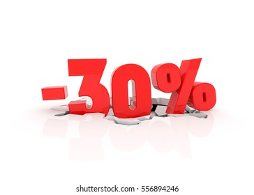 30% off discount on cracked white background. 3d sale illustration.