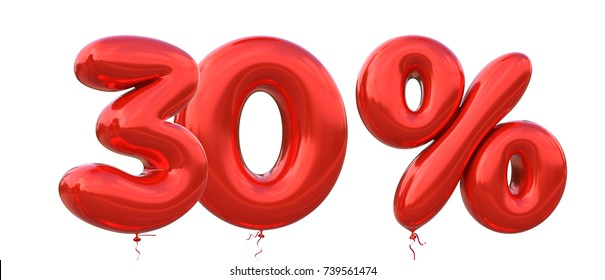 30% off discount promotion sale made of realistic 3d Red helium balloons. Illustration of balloon percent discount collection for your unique selling poster, banner ads ; Christmas, Xmas sale and more
