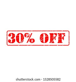30% off on white background. thirty five Percent Off Promotional Advertising Banner. Special offer, great offer, sale.  Label and Tag with stamp effect