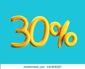 30% Off Price. Sale Concept Icon. 3d rendering isolated on Blue Background