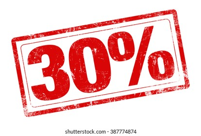 30% OFF red stamp text on white background