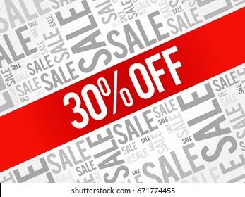 30% OFF Sale words cloud, business concept background