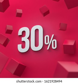 30 percent discount, red background. 30%, 3D render