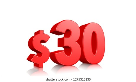 30$ price symbol. red text 3d  render with dollar sign on white background