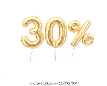 30 % sale banner golden flying foil balloons on white. 3d rendering.