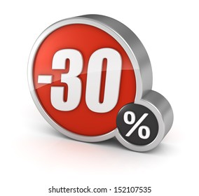 30% sale / 30 percent discount 3d icon on white background with clipping path.