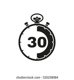 The 30 seconds, minutes stopwatch icon. Clock and watch, timer, countdown symbol. UI. Web. Logo Sign Flat design App Stock