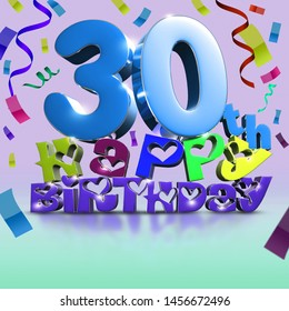 30 th Happy Birthday 3d rendering Ribbon as background.(with Clipping Path).