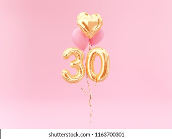 30 years old. Gold balloons number 30th anniversary, happy birthday congratulations. 3d rendering.