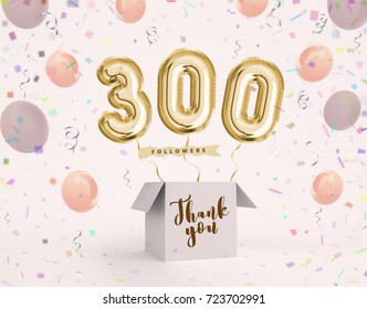 300 follower, 300 like thank you with gold balloons and colorful confetti. Illustration 3d render for your social network friends, followers, web user Thank you celebrate of subscriber, follower, like