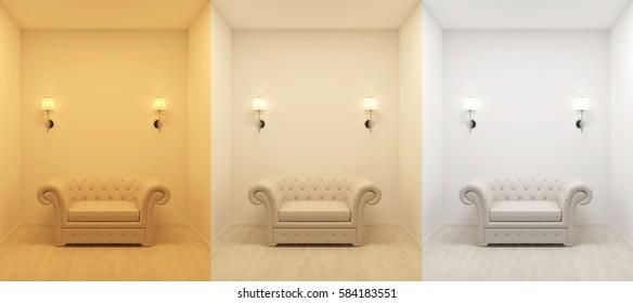 3000 4200 6400 kelvin temperature colours 3d rendering image