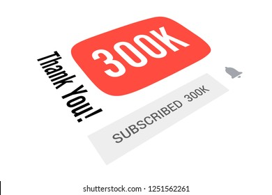 300000 Three Hundred Thousand Subscribers, Thank You, Number, White Background, Concept Image, 3D Illustration