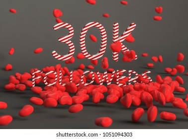30K Followers banner. Template for social media post for Followers and Subscribers. 3D rendering.