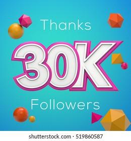 30K likes online social media thank you banner. 3D rendering