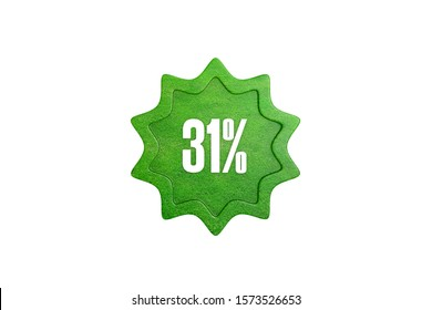 31 percent in green color star with grass isolated on white color background, 3d illustration.