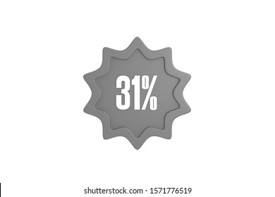 31 percent star in grey color isolated on white background, 3d illustration.