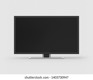 32 inch widescreen television on a light grey background. 3d render. Front view. Isolated Objects Series.