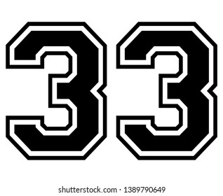33 Classic Vintage Sport Jersey / Uniform numbers in black with a black outside contour line number on white background for American football, Baseball and Basketball or soccer for shirt