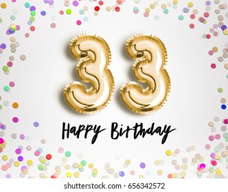 33rd Birthday celebration with gold balloons and colorful confetti glitters. 3d Illustration design for your greeting card, birthday invitation and Celebration party of thirty three years anniversary