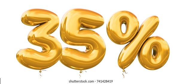 35% off discount promotion sale made of realistic 3d gold helium balloons. Illustration of balloon percent discount collection for your unique selling poster,banner ads ; Christmas, Xmas sale and more