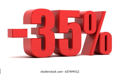 35 percent discount. Illustration 35% off isolated on white background.