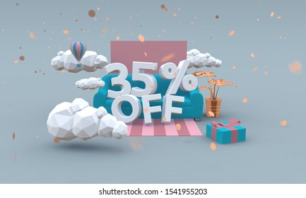 35% percent off 3d illustration in cartoon style. Sale concept.