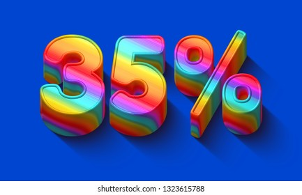 35 percent sale discount with Dazzling rainbows number and supersaturated color background. Realistic 3D render vivid illustration for your brightest trendy sale ads, poster on hot Spring , Summer