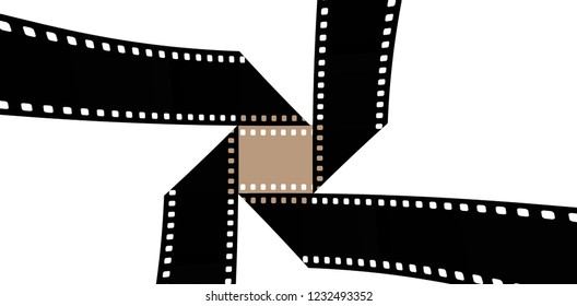 35mm film is seen in an interesting shape to be used to illustrate the idea of motion pictures, cinema, movie. This is an illustration.