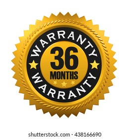 36 Months Warranty Sign. 3D rendering