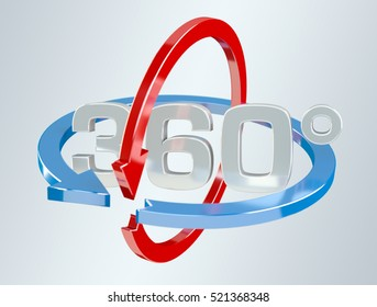 360 degree 3D render icon on grey background