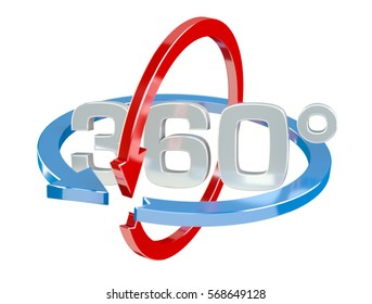 360 degree 3D render icon on white background
