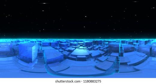 360 degree cubic world - planet panorama, equirectangular projection, environment map. HDRI spherical panorama. 3d illustration
