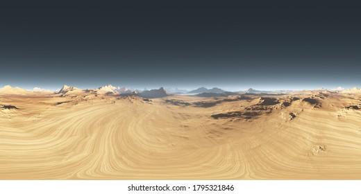 360 degree desert landscape. Equirectangular projection, environment map, HDRI spherical panorama. 3d illustration