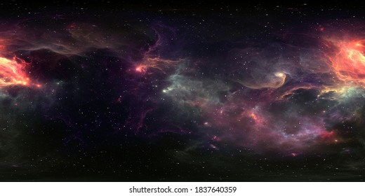360 degree equirectangular projection. Space background with nebula and stars, environment map. HDRI spherical panorama. 3d illustration