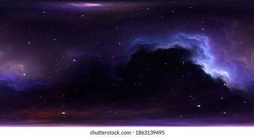 360 degree equirectangular projection space background with nebula and stars, environment map. HDRI spherical panorama. 3d illustration