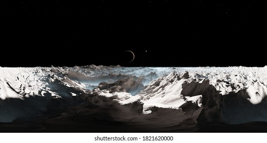 360 degree Europa surface, mysterious icy moon of Jupiter, equirectangular projection, environment map. HDRI spherical panorama. 3d illustration