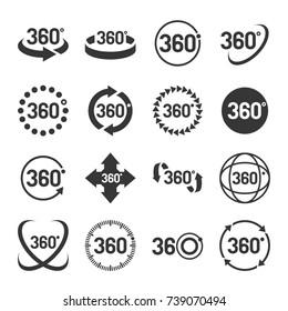 360 Degree Icons Set.