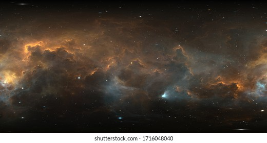 360 degree interstellar cloud of dust and gas. Space background with nebula and stars. Panorama, environment 360° HDRI map. Equirectangular projection, spherical panorama. 3d illustration