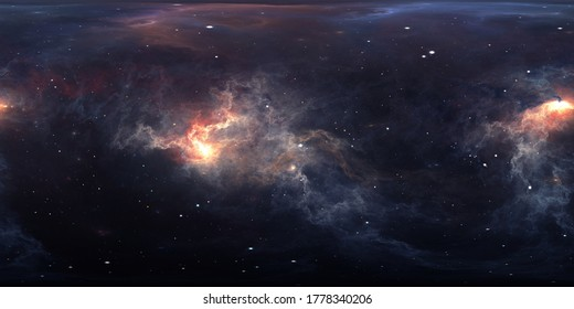 360 degree interstellar cloud of dust and gas. Space background with nebula and stars. Glowing nebula. Environment 360° HDRI map. Equirectangular projection, spherical panorama. 3d illustration