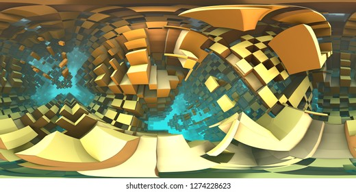360 degree labyrinth, abstract maze background panorama, equirectangular projection, environment map. HDRI spherical panorama. 3d illustration