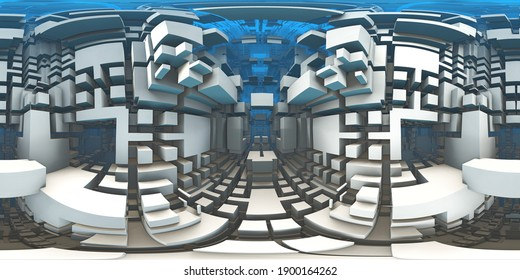 360 degree labyrinth, abstract maze background, equirectangular projection, environment map. HDRI spherical panorama. 3d illustration
